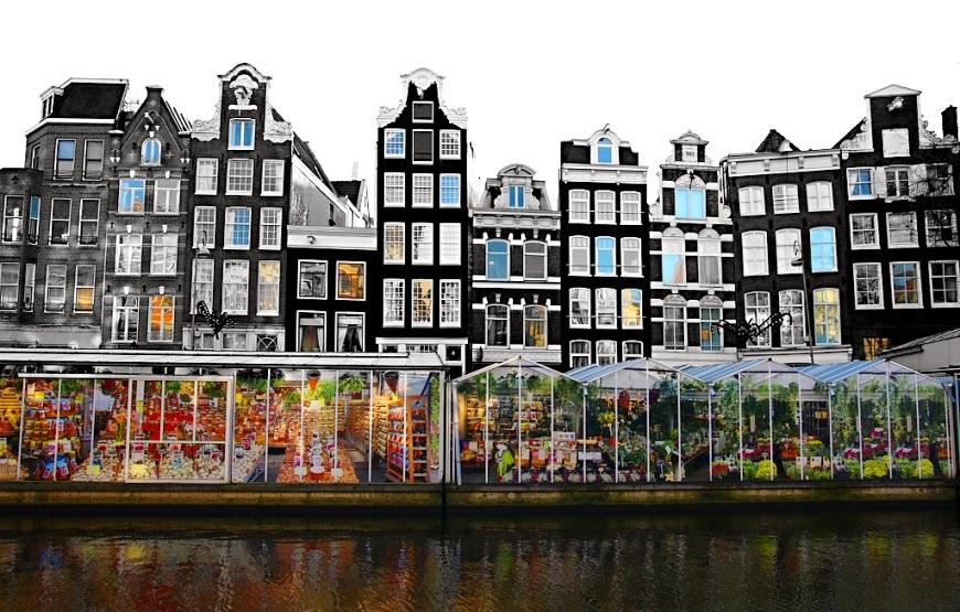 Mercado de flores no canal Singel em Amsterdam