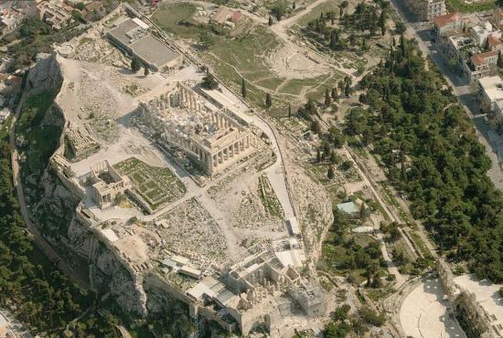 Templo Erecteion em Atenas visto de cima