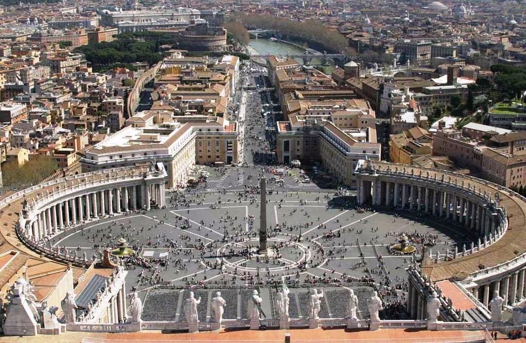 Basílica de São Pedro no Vaticano vista de cima