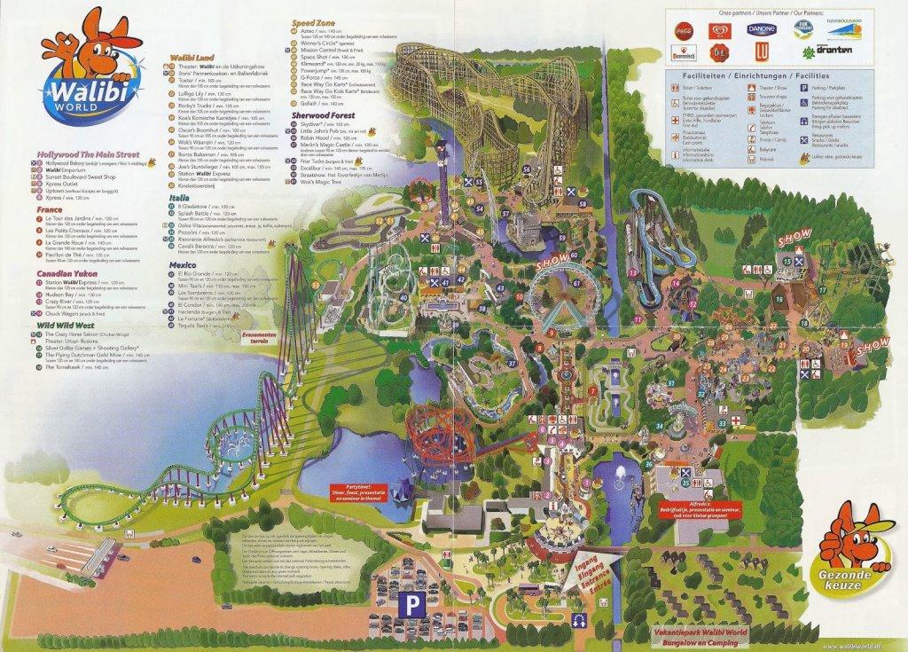 Mapa do Parque de diversões Walibi Holland na Holanda