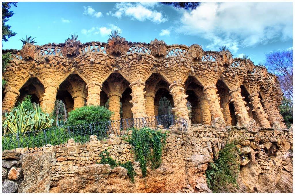 Construção no Parque Guell em Barcelona na Espanha