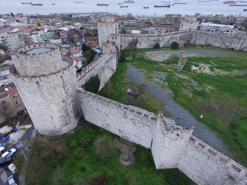 Muralhas de Constantinopla em Istambul vistas de cima