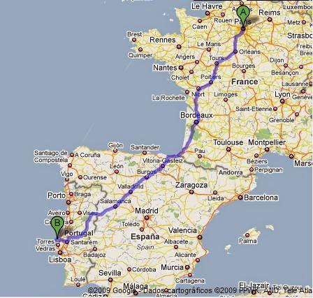 Mapa mostrando trajeto entre Lisboa e Paris