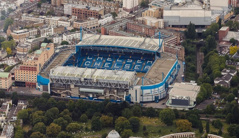 Estádio Stamford Bridge do Chelsea visto de cima