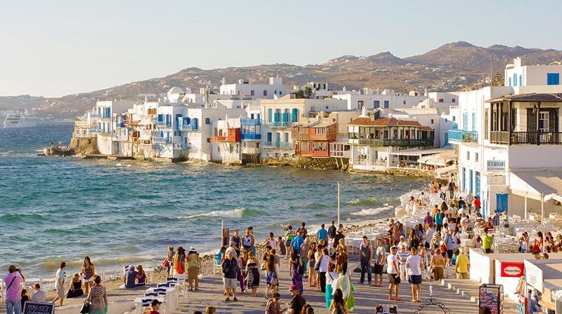 Movimento em Mykonos na Grécia