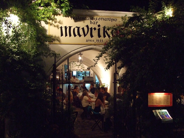 Restaurante Mavrikos na ilha de Rodes