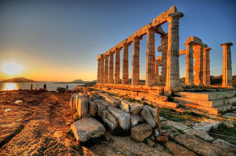 Praia Cabo Sounion em Atenas