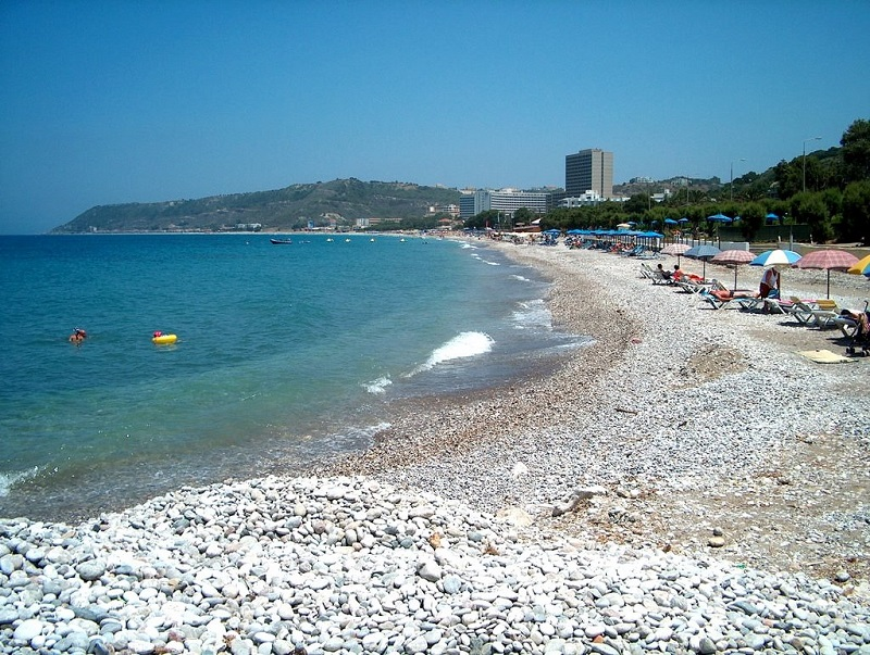 Praia Ixia na ilha de Rodes