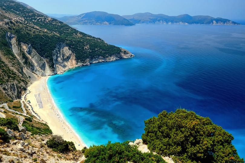 Praia de Myrtos na ilha de Cefalônia