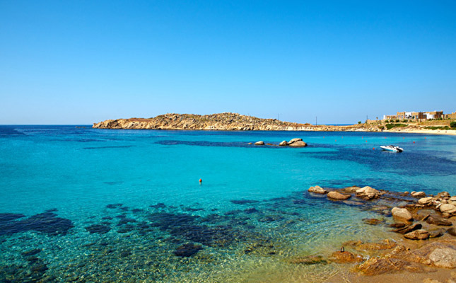 Praia Paraga na ilha de Mykonos