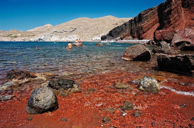 Red Beach em Santorini