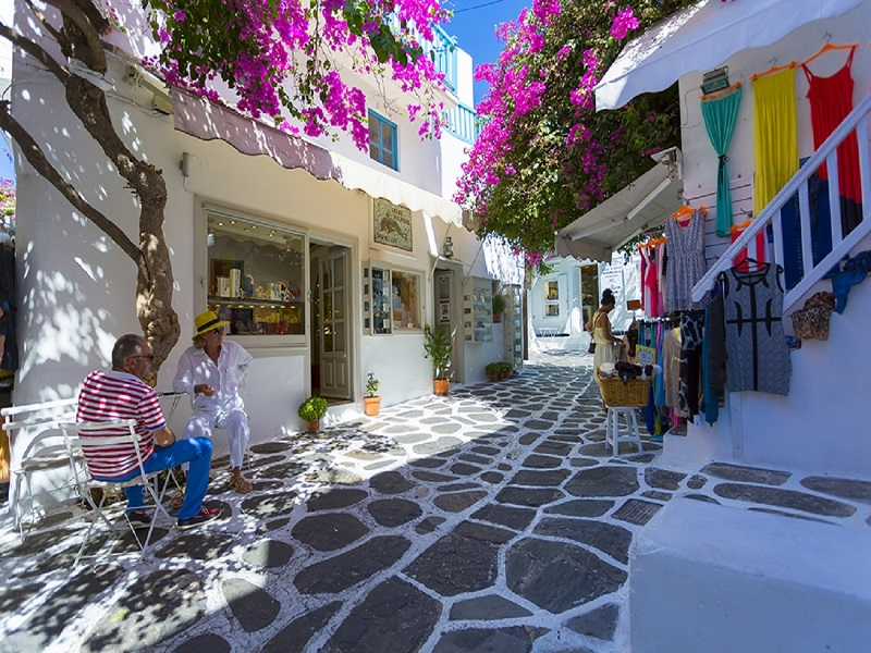Rua de Chora na ilha de Mykonos