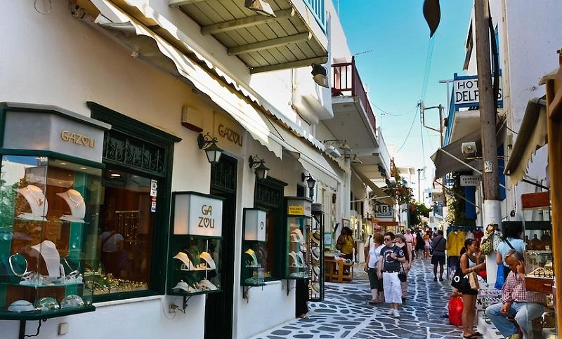 Estabelecimentos comerciais em Chora na ilha de Mykonos