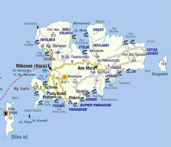 Mapa das regiões de Mykonos