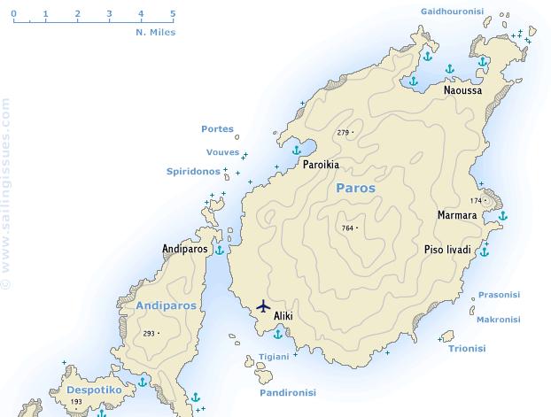 Mapa das regiões de Paros