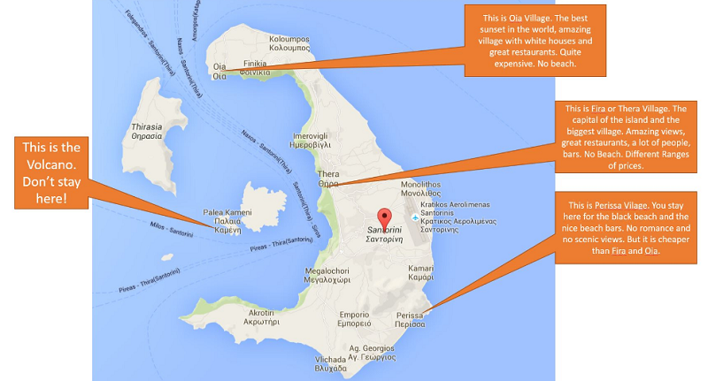 Mapa das regiões Santorini