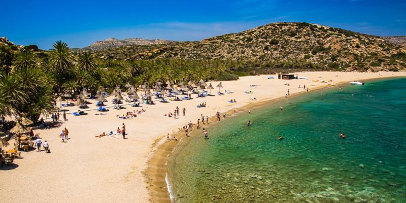 Praia Vai na ilha de Creta