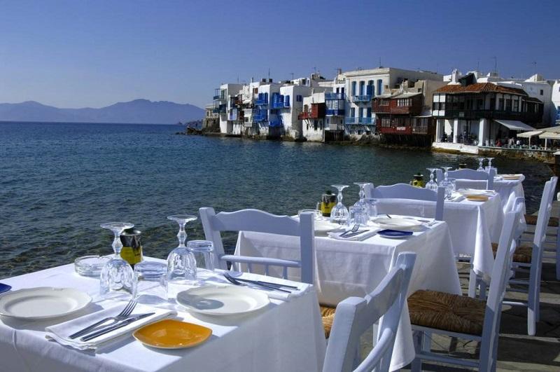 Restaurante na ilha de Mykonos