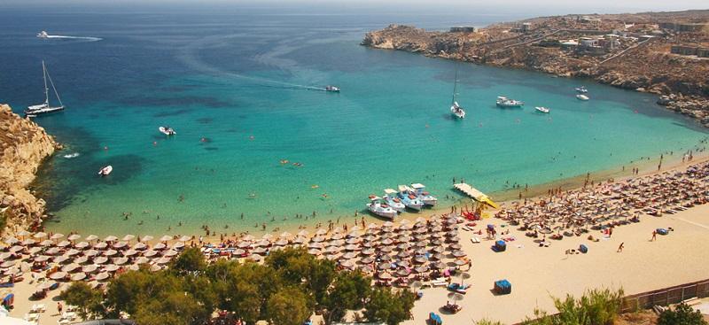 Praia Super Paradise na ilha de Mykonos