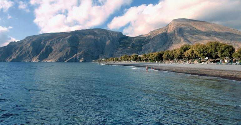 Kamari em Santorini