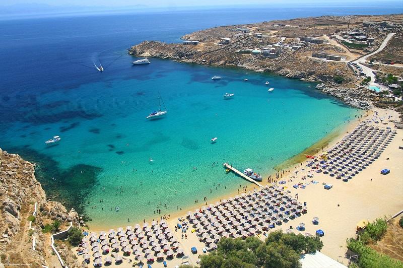 Paisagem da praia em Mykonos