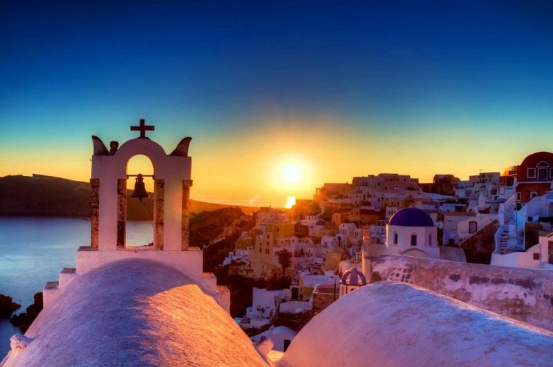 Pôr do sol em Oia em Santorini