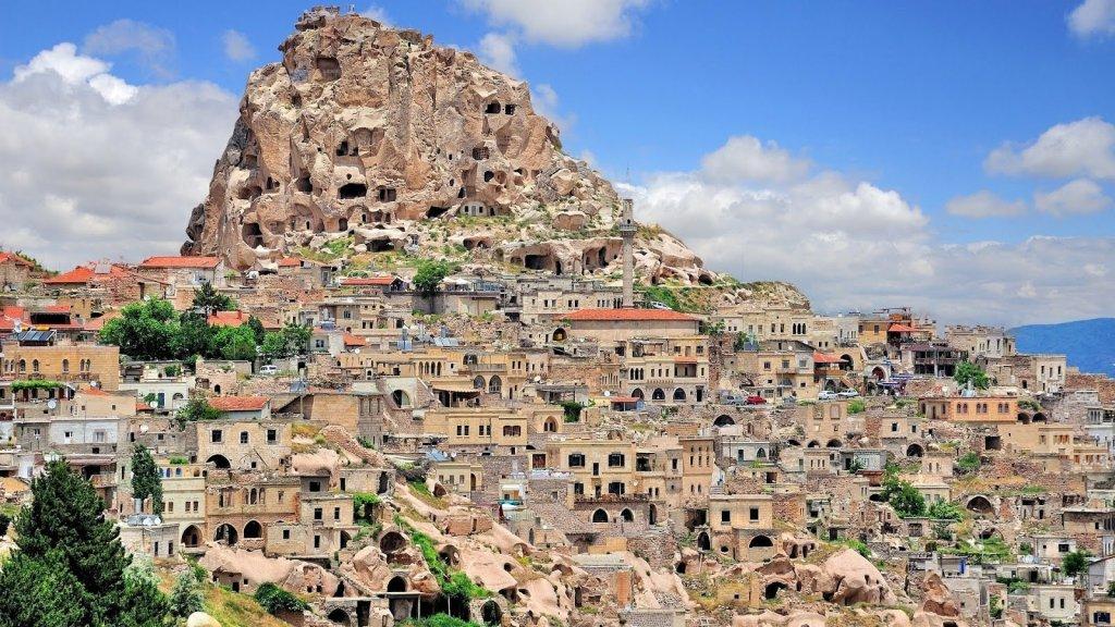 Vila e castelo de Uçhisar na Capadócia